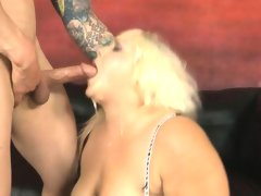 Fat blonde getting face fucked and slapped around