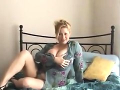 Chubby mature woman with her adult toy