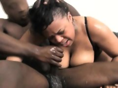 Big titty black ghetto slut very roughly fucked..