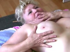 Old granny tescher does strip and fuck with..