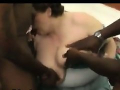 White bbw with two black dicks