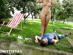 Skinny guy swallowed by dominika\'s fat pussy