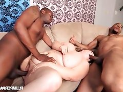 Bbw enjoys two big black cocks in great threesome
