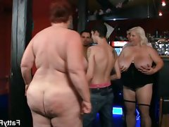 Fat ladies get dirty in the pub with young boys