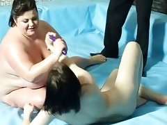 Furious naked bbw wrestling with lesbo and..