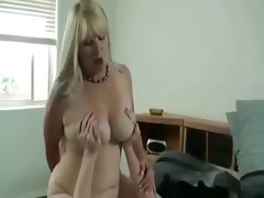 Busty blond mom fucks stepson