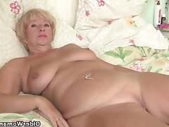Chubby granny gets her old pussy fingered by..