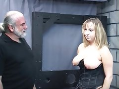Old man dom pulls chubby sub\'s hair and smacks..