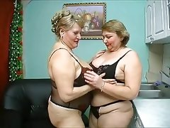 Two old chubby mature have wild sex in black..