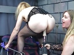Ankle bound blonde gets fucked with industrial..