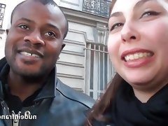 Amateur chubby french brunette banged by black n..