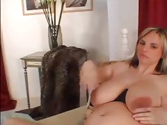 Pregnant with big tits masturbating