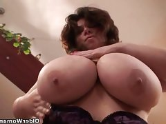Mature bbw with xxl tits wears stockings and..