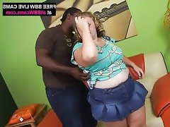 Blond amazing bbw sucks and fucks black guy big..