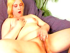 Chubby blonde nelly and her new purple dildo
