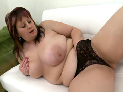 Masturbating fat girl moans loudly in joy