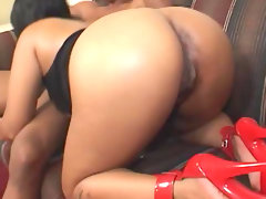 Chubby black girl in high heels hotel sex
