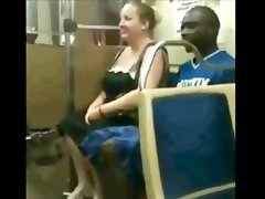 Bbw slut suck black cock on the train