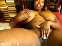 Busty black bbw thinks of you as she fucks her..