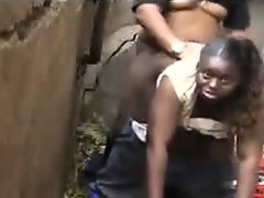 Fat black drug addict fucking outdoors