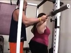 Fat girl with a bush fucked by her trainer