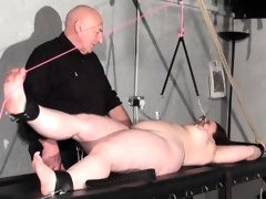 Rack tortured bbw in extreme bondage